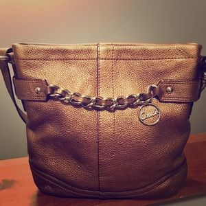 Coachchain duffle leather crossbody/shoulder bag